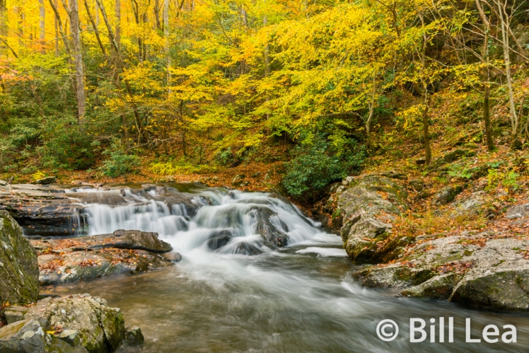 Autumn view of Laurel Creek Falls - Great Smoky Mountains National Park